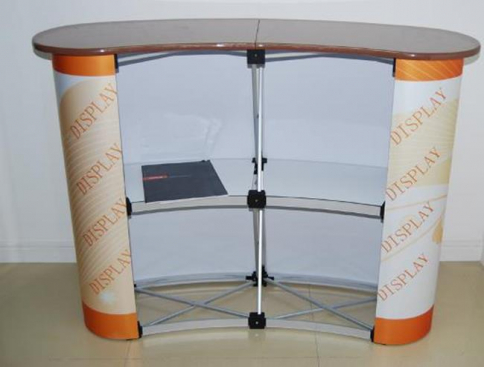 Curved Magnetic Popup Reception table back view